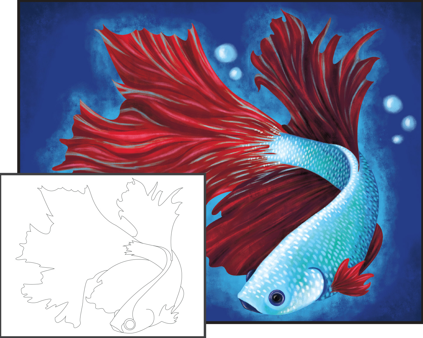 Acrylic painting bold betta fish for Betta fish painting