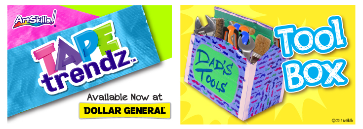 ArtSkills Colorful Tool Box with Tape Trendz Duct Tape.