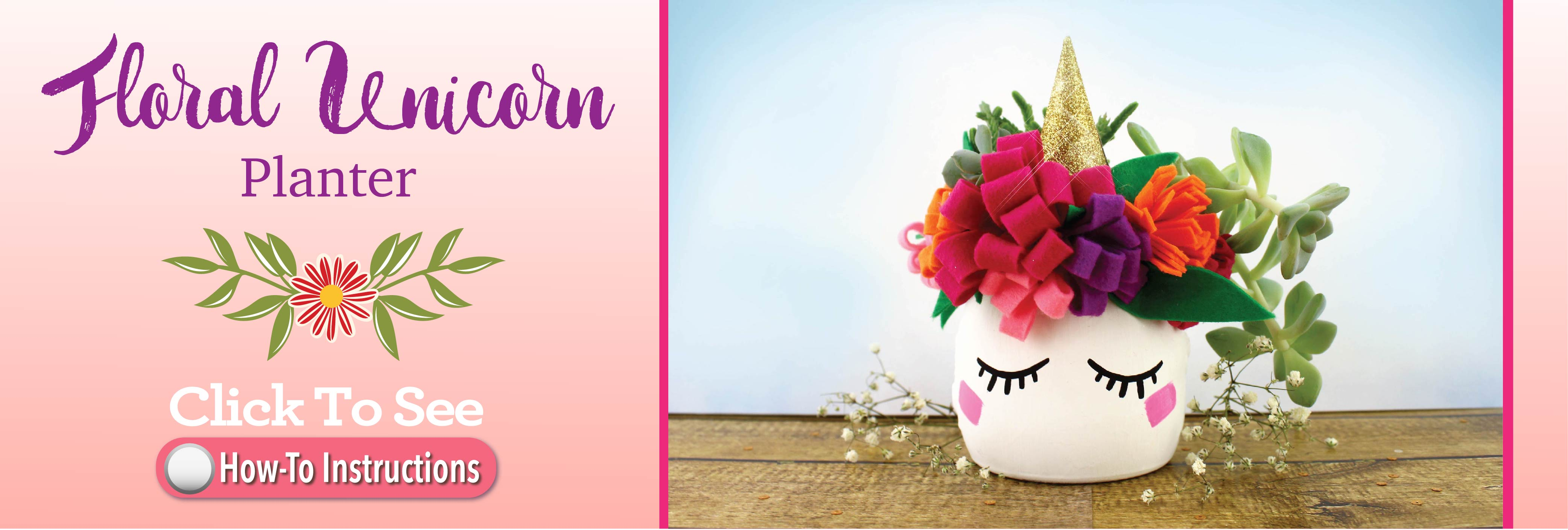 Floral Unicorn Planter