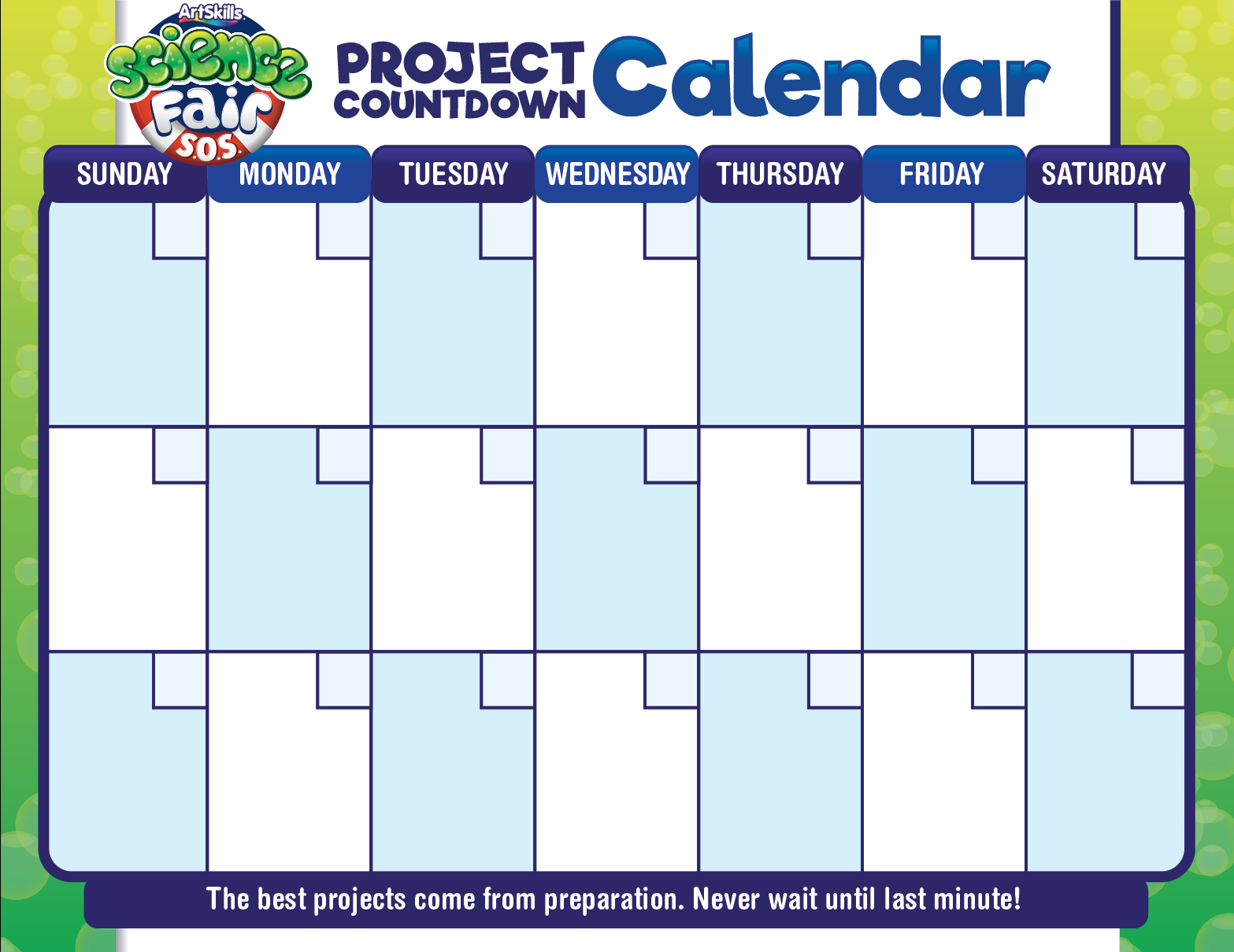science fair project calendar