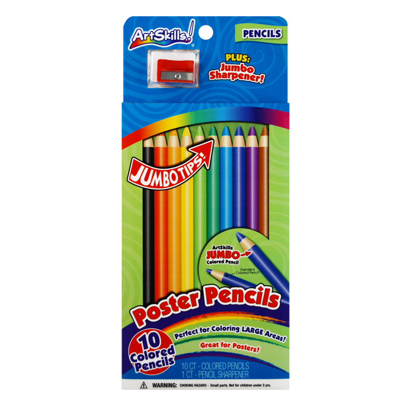 Poster Pencils Draw With 10 Different Vibrant Colors