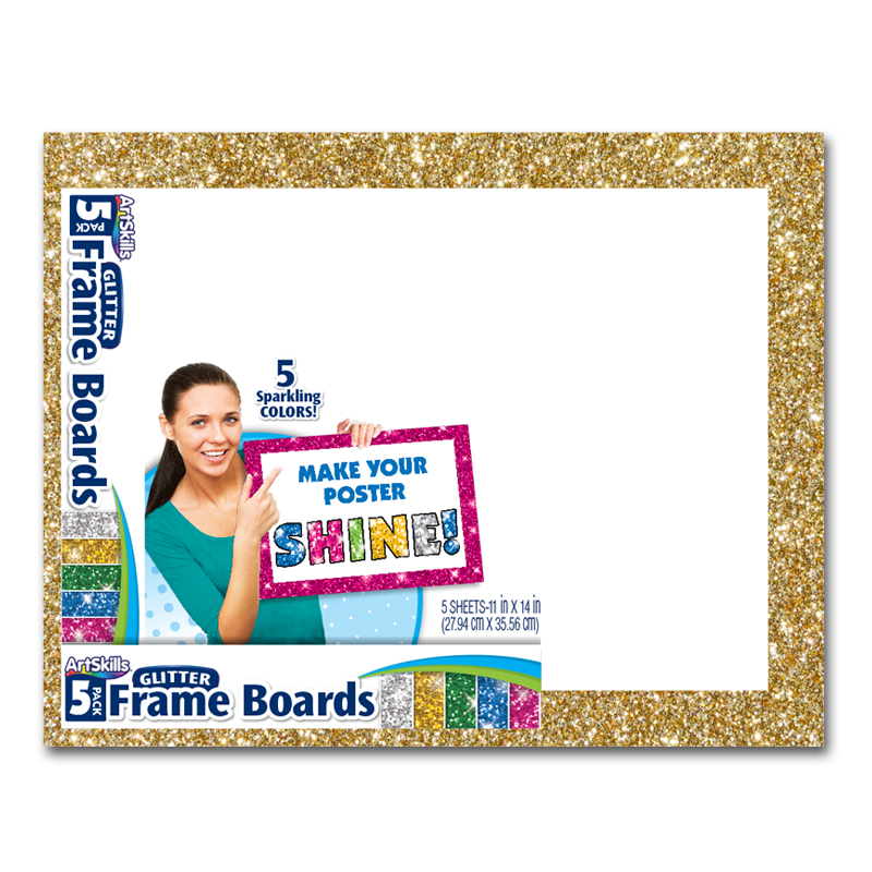 11in. x 14in. 5 Pack Glitter Frame Boards | Poster Board ...