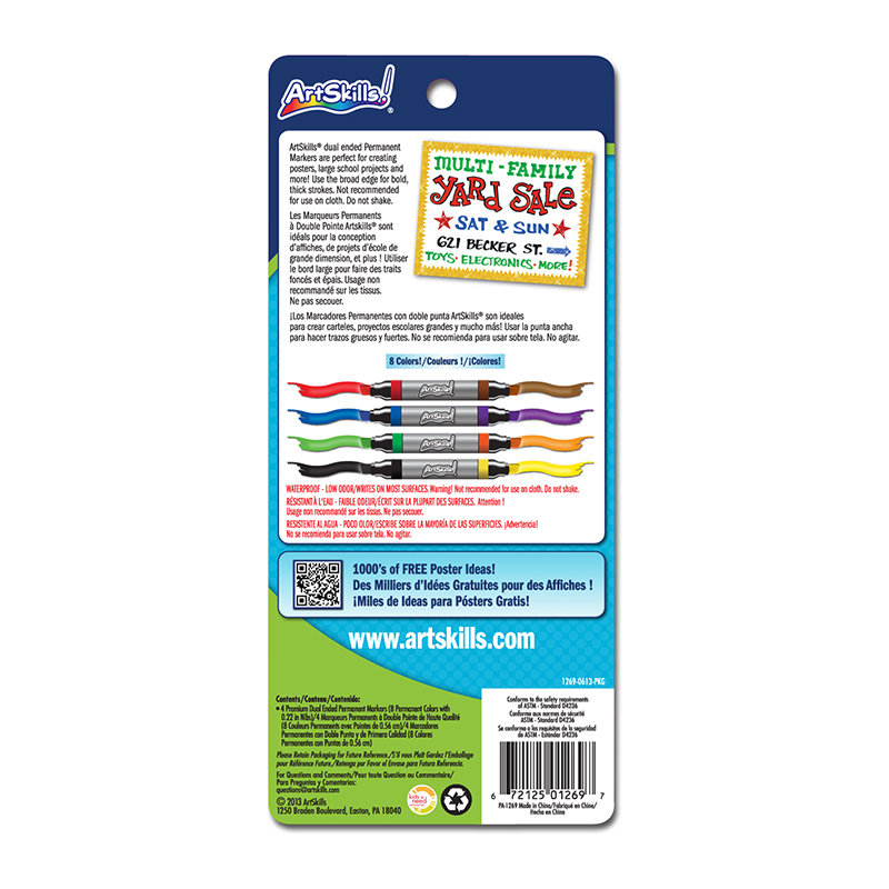 Permanent Poster Markers : Dual Ended