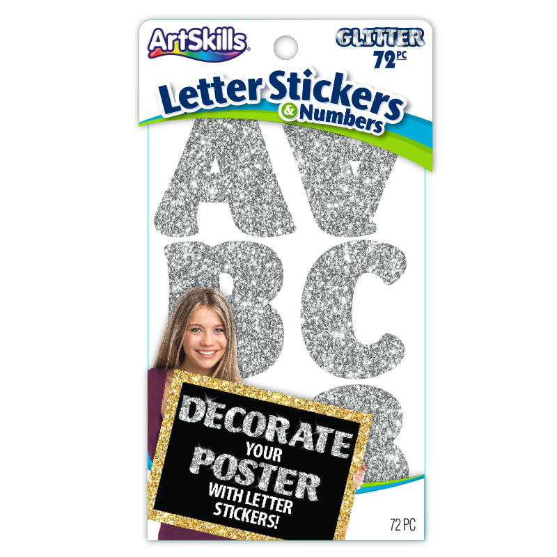 Silver Glitter Letter Stickers Poster Letters Make A