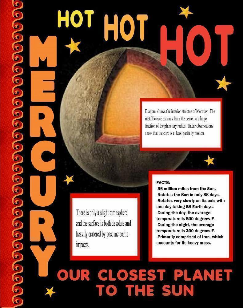 make a science fair project about mercury outer space science  mercury