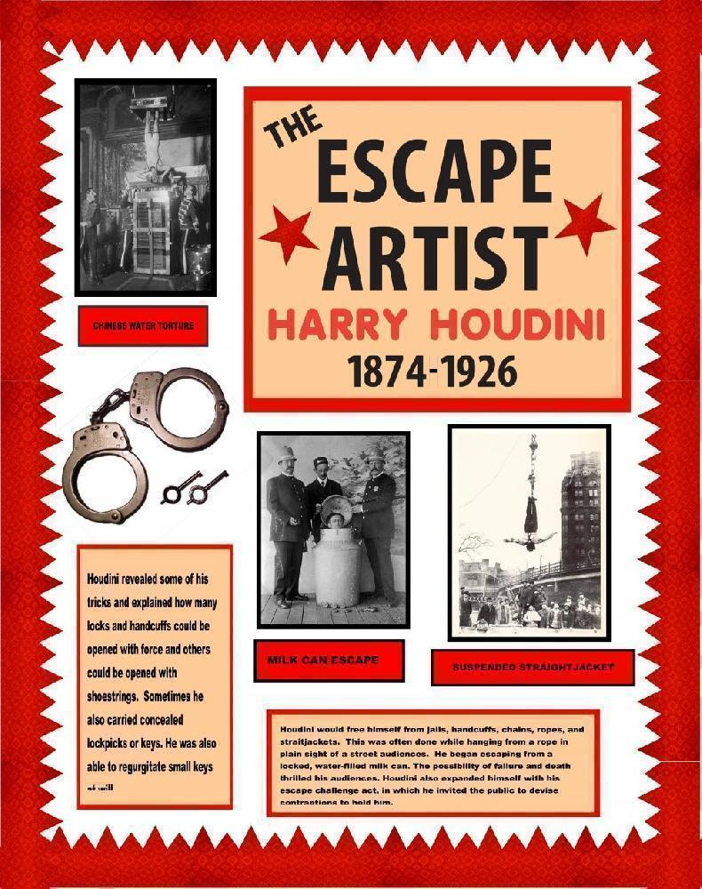 Make A Harry Houdini Poster The Escape Artist Poster Ideas