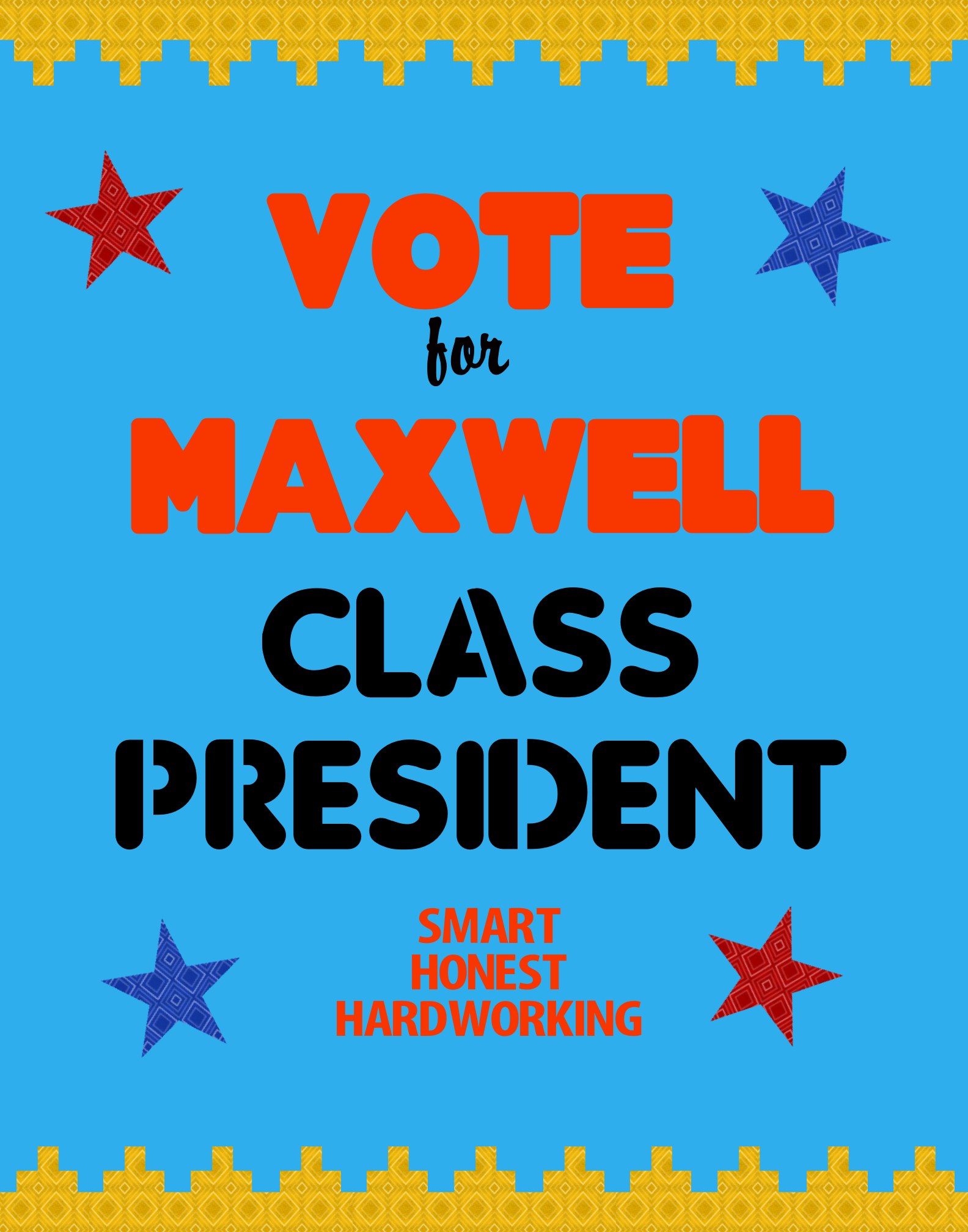 Make an Election Poster | Class President Sign | School