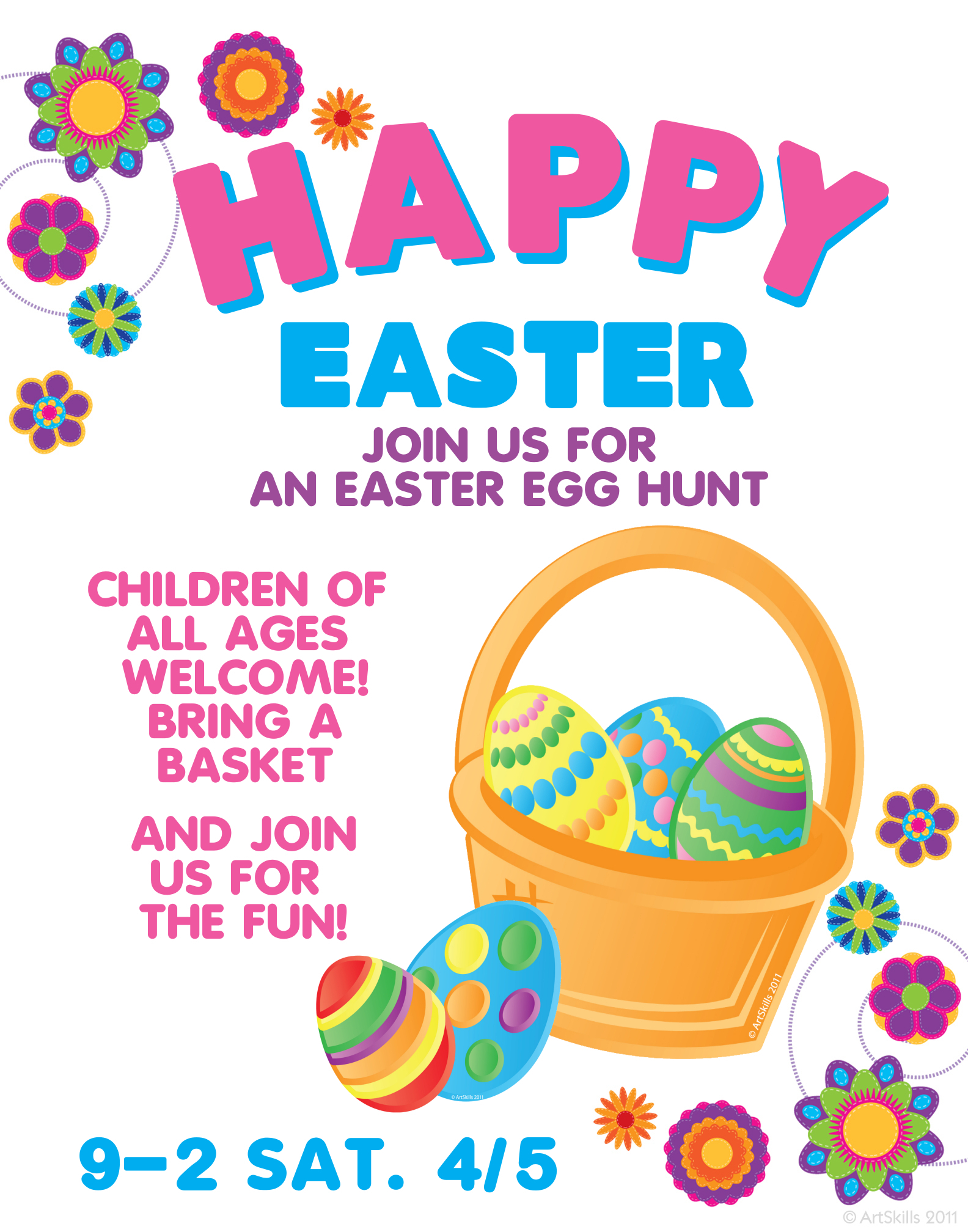 Make An Easter Egg Hunt Poster Happy Easter Sign Holiday Poster