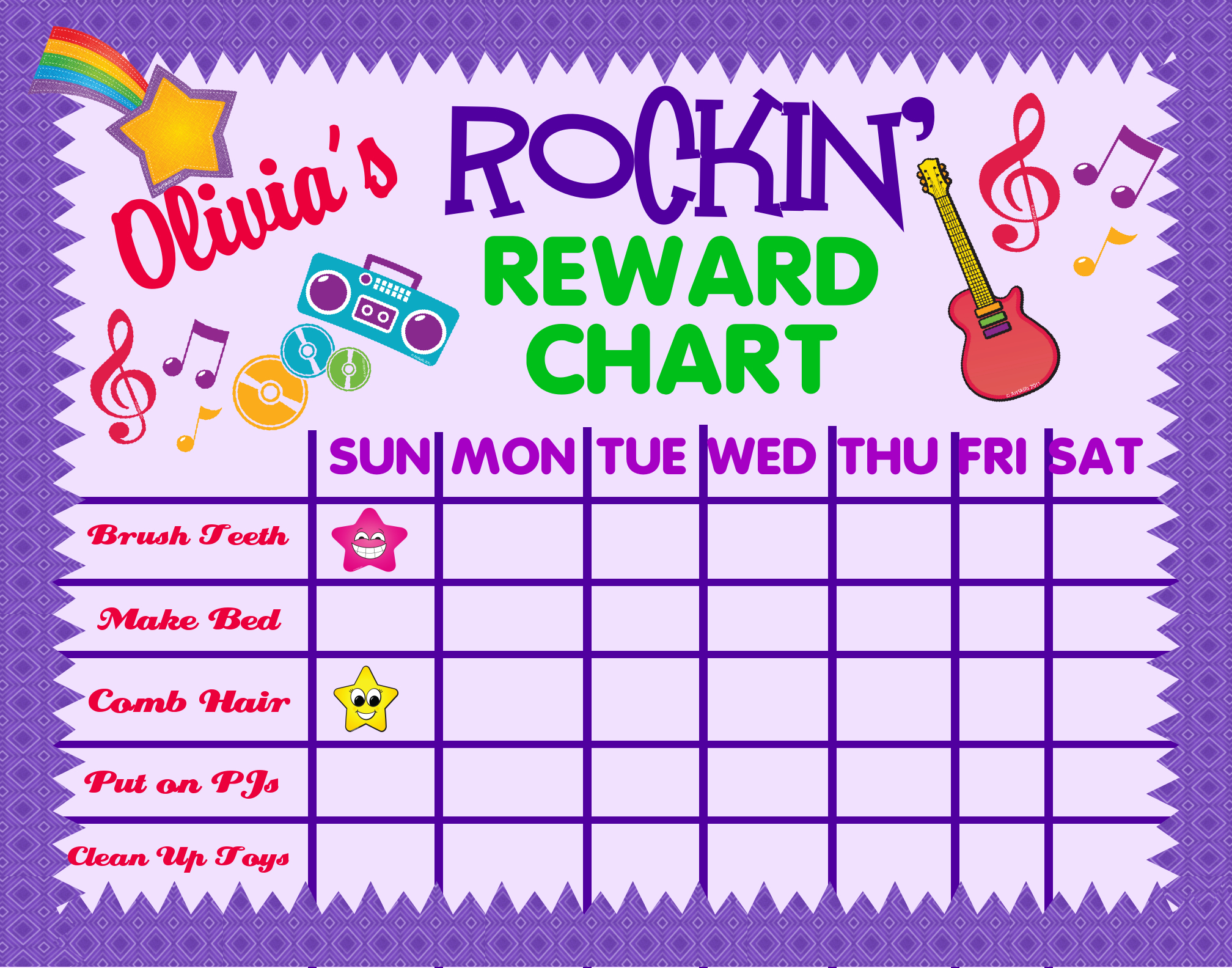 make a reward chart poster