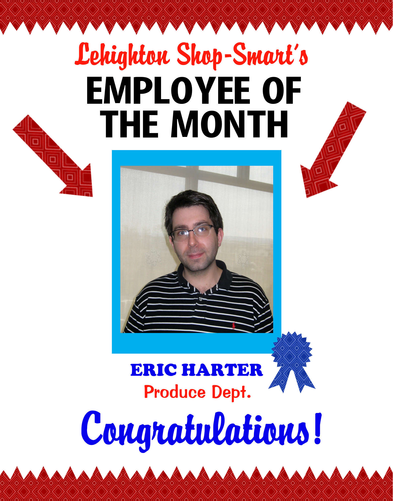 Create a poster about employee of the month staff for Employee of the month certificate template with picture