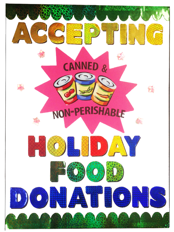 create a poster about holiday food donations